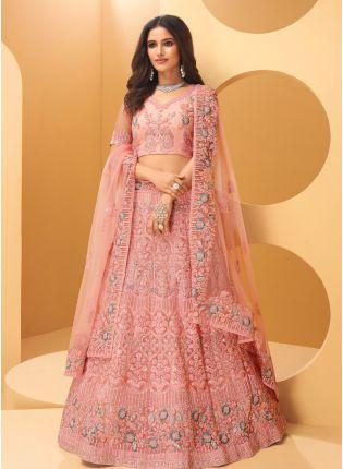 Beautiful Rose Pink Color Heavy Work Designer Base Wedding Wear Lehenga Choli