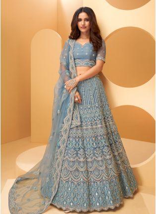 Shop Ravishing Look Steel Blue Color Soft Net Base Heavy Work Designer Lehenga Choli