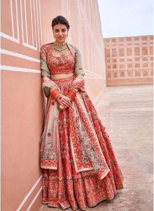 Trendy Charming Orange Color Bridal Wear Malai Satin Base Embroidered Lehenga Choli