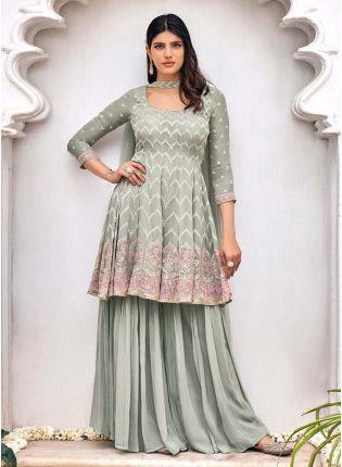 Adorable Grey Color Georgette Base Beautiful Work Designer Sharara Suit