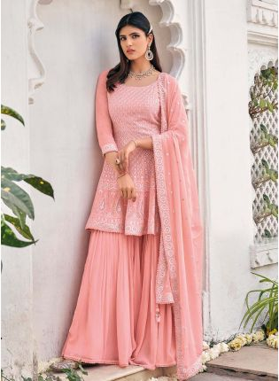 Glamorous Peach Color Georgette With Heavy Work Base Western Sharara Suit