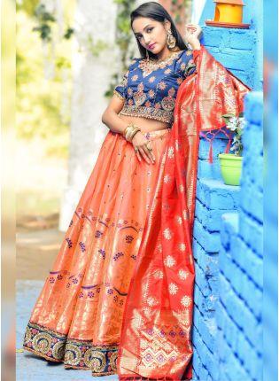 Iconic Orange Dori Resham Zari Banarasi Silk Lehenga Choli