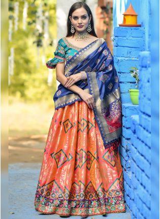 Decent Orange Dori And Resham Zari Banarasi Silk Lehenga Choli