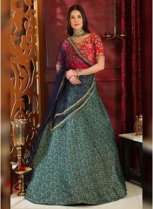 Purchase Multi Sequins Silk And Georgette Lehenga Choli