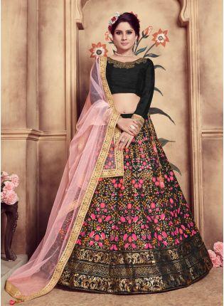 Buy Black Sequins Hand Work And Soft Net Silk Lehenga Choli