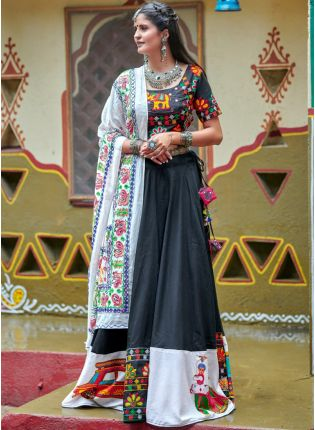 Decent Traditional Black Color Designer Navratri Special Lehenga Choli