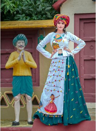 Buy Bottle Green Color Designer Cotton Base Navratri Special Lehenga Choli