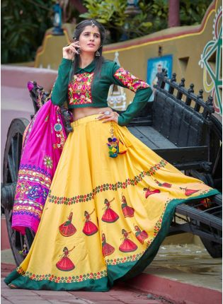 Affordable Treditional Look Dark Green And Yellow Color Cotton Base Lehenga Choli