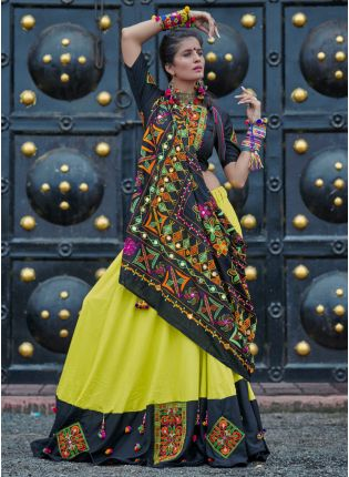 Best Traditional Black And Neon Green Color Cotton Base Lehenga Choli