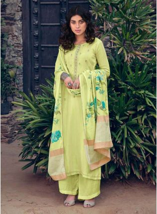 Light Green Color Art Silk Base Festive Wear Palazzo Suit With Printed Dupatta