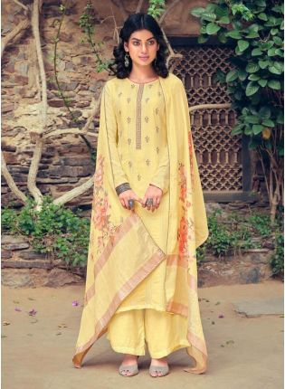 Light Yellow Color Art Silk Base Wedding Wear Palazzo Suit With Printed Dupatta