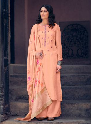 Glossy Peach Color Art Silk Base Palazzo Suit With Digital Printed Dupatta