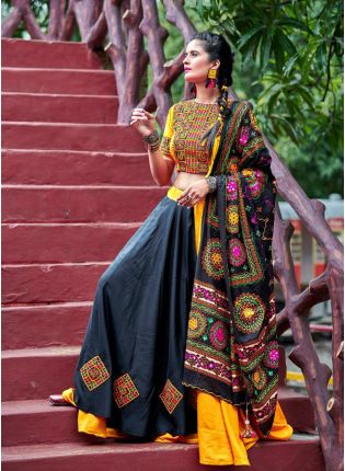 Splendid Combination Of Yellow And Black Color Traditional Touch Lehenga Choli