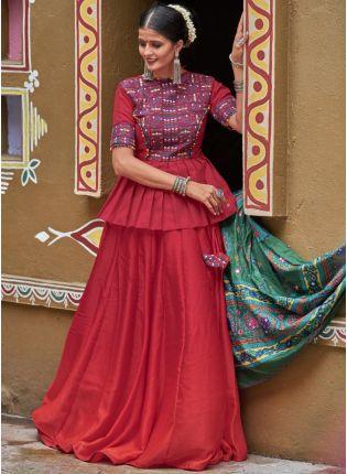 Decent Maroon Silk Base Designer Fashionable Chaniya Choli