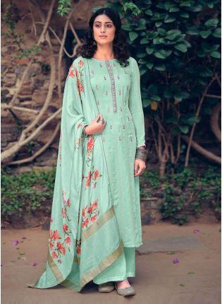 Sea Green Color Art Silk Base Pakistani Style Salwar Suit With Printed Dupatta