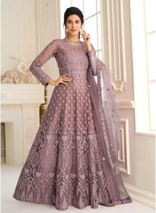 Appealing Purple Color Gown With Floor Length Anarkali