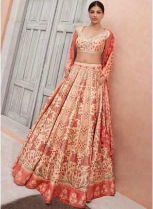 girl in Peach Digital Printed Satin Lehenga Choli Set