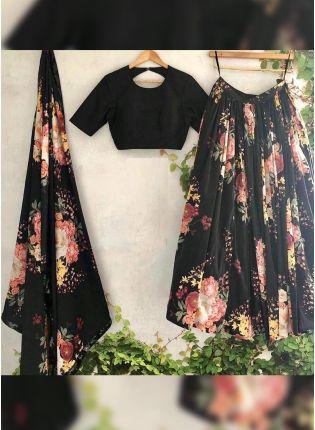 Trendy Black Digital Print Tafetta Silk Casual Flared Lehenga Choli