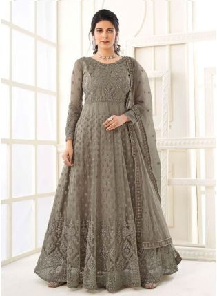 Magnificent Dark Grey Color Gown With Floor Length