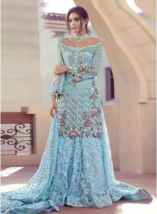 Sky Blue Color Soft Net Base Resham Work Pakistani Salwar Suit