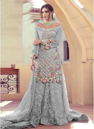 Soft Net fabric Grey Color Stone And Resham Work Pakistani Salwar Suit