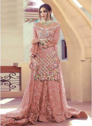 Peach Color Soft Net Fabric Resham And Stone Work Pakistani Salwar Suit