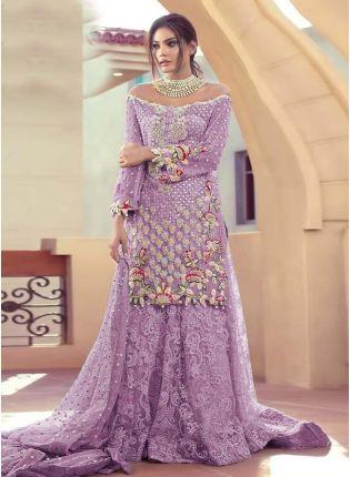 Purple Color Soft Net Fabric Stone And Resham Work Pakistani Salwar Suit