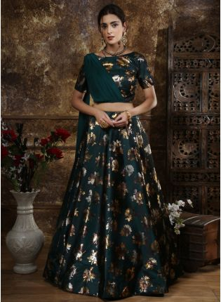 Splendid Green Foil Print And Tafetta Silk Georgette Lehenga Choli