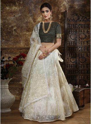 Stylish Off-White Zari Resham Sequins Organza Silk Lehenga Choli