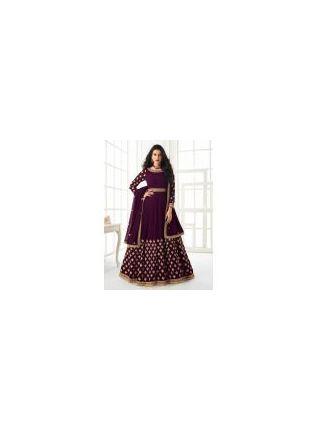 Magnificent Purple Color Georgette Base Gown