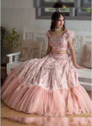 Buy Trendy Pink Color Party Wear Soft Net Base Ruffle Style Lehenga