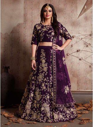 Trendy Purple Dori Work Velvet Lehenga Choli And Dupatta Set