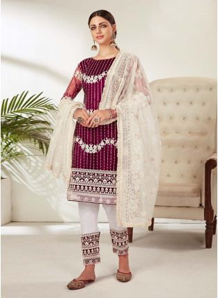 Wine Color Soft Net Base Full Sleeves Dori And Sequins Work Pant Style Suit