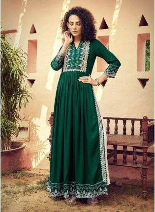 Elegant Cotton Base Forest Green Color Lucknowi Work Straight Suit With Palazzo