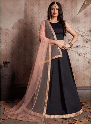Stylish Black Fully Flared Lehenga Choli And Dupatta Set