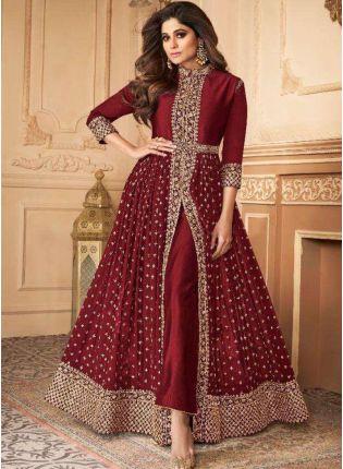 Presenting Maroon Slit Cut Georgette Anarkali Suit