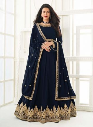 Glamorous Navy Blue Color Georgette Base Gown