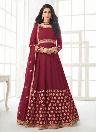 Trendy Red Color Georgette Base Gown