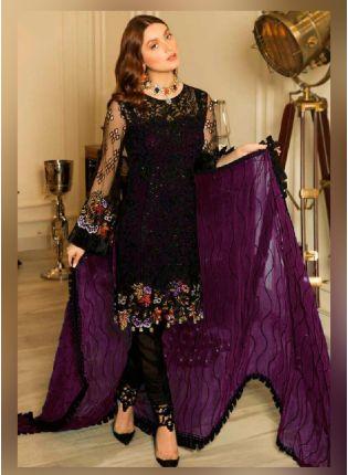 Marvelous Purple Color With Butterfly Net Base Salwar Kameez