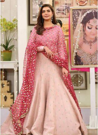Top Peach Zari And Tafetta Silk Floor Length Salwar Suit