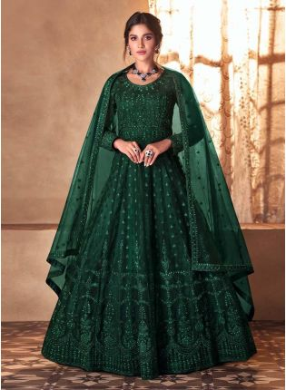 Green Color Soft Net Fabric Stone Work Designer Gown