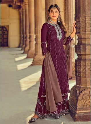 Awesome Purple Color With Georgette Base Salwar Suit