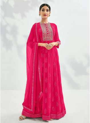 Georgette Fabric Pink Color Sequins And Zari Work Designer Gown