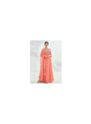 Peach Color Crew Neckline Zari And Sequins Work Designer Gown