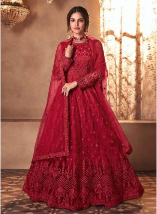 Fascinating Red Color Soft Net Fabric Stone Work Designer Gown