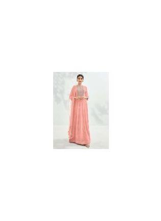 Enchanting Baby Pink Color Georgette Base Designer Gown
