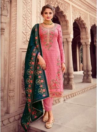 Resham And Stone Work Georgette Base Pink Color Pant Style Suit