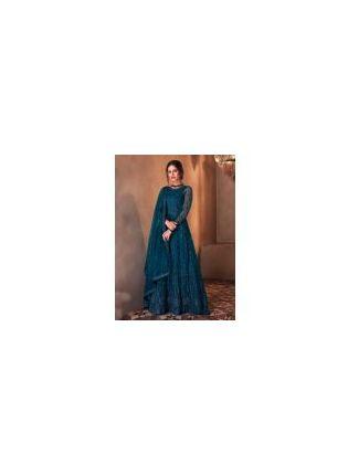 Soft Net Base Blue Color Jewel Neckline Stone Work Designer Gown