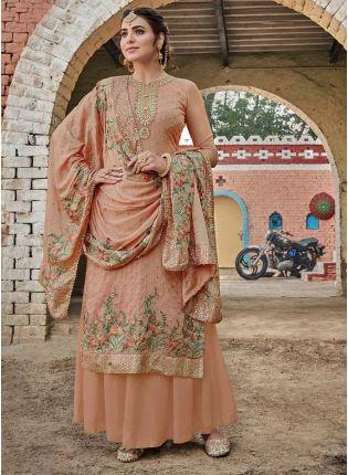 Trendy Beige Color Georgette Base Palazzo Salwar Suit