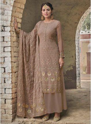 Impressive Fawn Beige Color Georgette Base Palazzo Salwar Suit